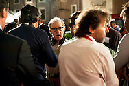 Roma 9 Agosto  2011.Il set del  film The Bob Decameron di Woody Allen, a Piazza della Repubblica.Woody Allen sul set del film.