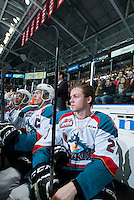 KELOWNA, CANADA - JANUARY 24: Josh Morrissey #27 of Kelowna Rockets sits on the bench against the Everett Silvertips on January 24, 2015 at Prospera Place in Kelowna, British Columbia, Canada.  (Photo by Marissa Baecker/Shoot the Breeze)  *** Local Caption *** Josh Morrissey;