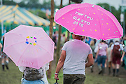 Ready for rain or sun - The 2016 Glastonbury Festival, Worthy Farm, Glastonbury.