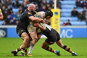 The Wasps forwards combine to tackle during the Aviva Premiership match between Wasps and Exeter Chiefs at the Ricoh Arena, Coventry, England on 18 February 2018. Picture by Dennis Goodwin.