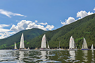 Sailing on Ruedi Reservoir near Aspen, Colorado.
