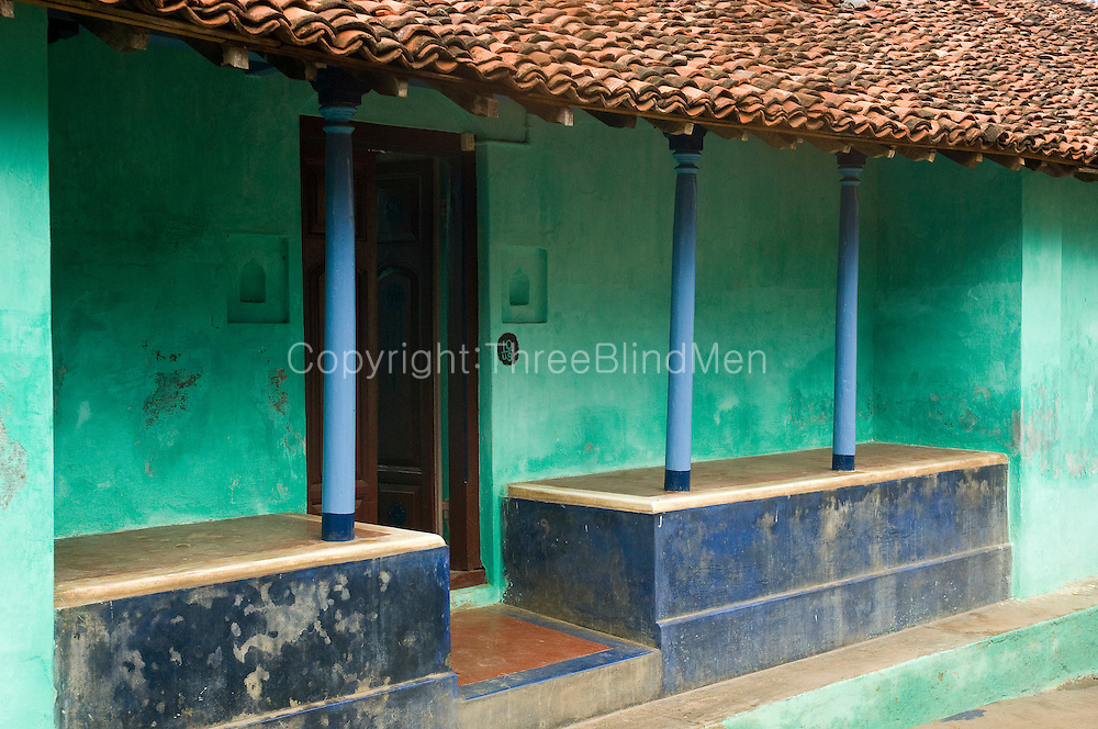Elegant front of a home with slender pillars. Exterior of a home in Nagapattinam.<br /> Tamil Nadu. South India.