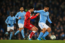 Liam Walsh of Bristol City chases Sergio Aguero of Manchester City  - Mandatory by-line: Matt McNulty/JMP - 09/01/2018 - FOOTBALL - Etihad Stadium - Manchester, England - Manchester City v Bristol City - Carabao Cup Semi-Final First Leg