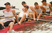 Henley Royal Regatta  28th June to 2 July 2000<br /> Photo Peter Spurrier, Exhausted and defeated in the 'Ladies' Challenge Cup' by Brown University USA, the German Under 23 crew from Rostock and Heidelberg. Fight to overcome their dis-apointment. 2000 Henley Royal Regatta, Henley.UK