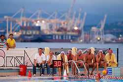 Duho Veselin, Marino Cetin and players of Rokava Koper during water polo match between ASD Vaterpolo Rokava Koper and AVK Triglav Kranj in 3rd Round of Final of Slovenian Water polo National Championship, on June 8, 2011 in Zusterna pool, Koper, Slovenia. Rokava Koper defeated Triglav Kranj 12-6 and became Slovenian Champion 2011. (Photo By Vid Ponikvar / Sportida.com)