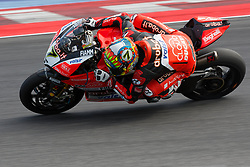 July 8, 2018 - Misano, RN, Italy - Chaz Davies of Aruba.it Racing - Ducati during race 2 of the Motul FIM Superbike Championship, Riviera di Rimini Round, at Misano World Circuit ''Marco Simoncelli'', on July 08, 2018 in Misano, Italy  (Credit Image: © Danilo Di Giovanni/NurPhoto via ZUMA Press)