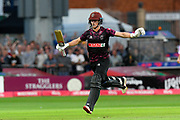 100 - Tom Abell of Somerset celebrates scoring a century during the Vitality T20 Blast South Group match between Somerset County Cricket Club and Middlesex County Cricket Club at the Cooper Associates County Ground, Taunton, United Kingdom on 30 August 2019.