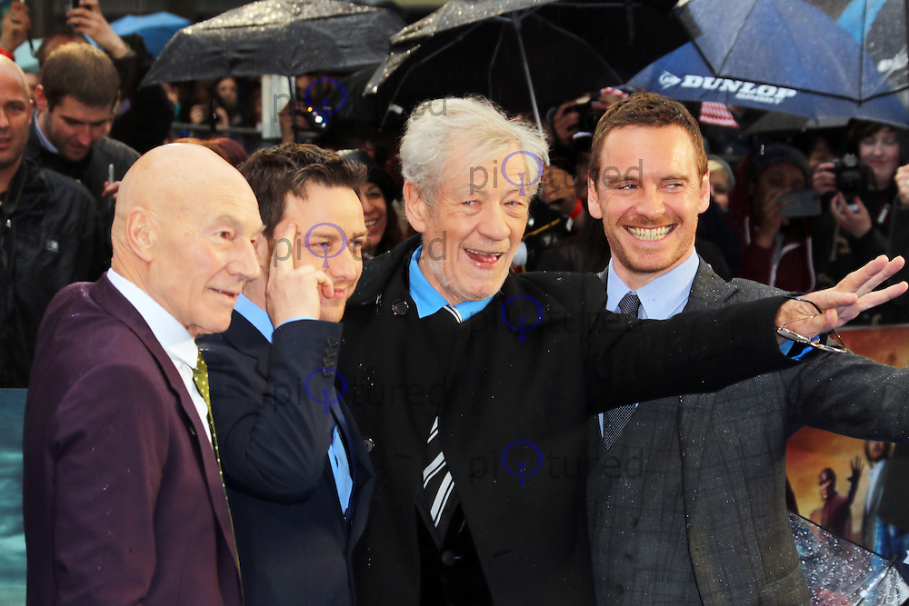 Patrick Stewart; James McAvoy; Ian McKellen; Michael Fassbender, X-Men: Days Of Future Past - UK Film Premiere, Odeon Leicester Square, London UK, 12 May 2014, Photo by Richard Goldschmidt