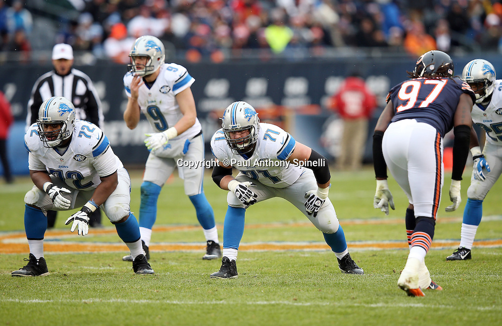 Detroit Lions rookie offensive guard Laken Tomlinson (72) and Detroit Lions tackle Riley Reiff (71) gets set to block as Detroit Lions quarterback Matthew Stafford (9) waits for the snap in the shotgun formation during the NFL week 17 regular season football game against the Chicago Bears on Sunday, Jan. 3, 2016 in Chicago. The Lions won the game 24-20. (©Paul Anthony Spinelli)