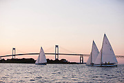 Surprise, Osprey, and Argument sailing in the Herreshoff S Class division of the Newport Yacht Club Tuesday night racing series.