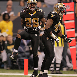 2008 December, 07: New Orleans Saints cornerback Usama Young (28) and Roman Harper (41) celebrate after a defensive stop during the first half of a game between NFC South divisional rivals the Atlanta Falcons and the New Orleans Saints at the Louisiana Superdome in New Orleans, LA.
