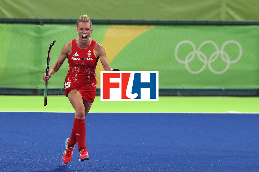 RIO DE JANEIRO, BRAZIL - AUGUST 17:  Alex Danson of Great Britain celebrates after scoring her second goal during the Women's hockey semi final match betwen New Zealand and Great Britain on Day12 of the Rio 2016 Olympic Games at the Olympic Hockey Centre on August 17, 2016 in Rio de Janeiro, Brazil.  (Photo by David Rogers/Getty Images)
