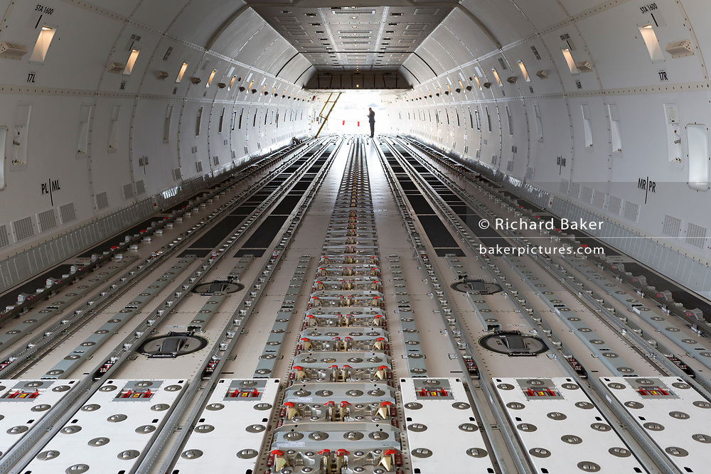 The flooring of a Qatar Airlines 747-800 Cargo aircraft on display at the Farnborough Airshow, on 16th July 2018, in Farnborough, England. (Photo by Richard Baker / In Pictures via Getty Images)