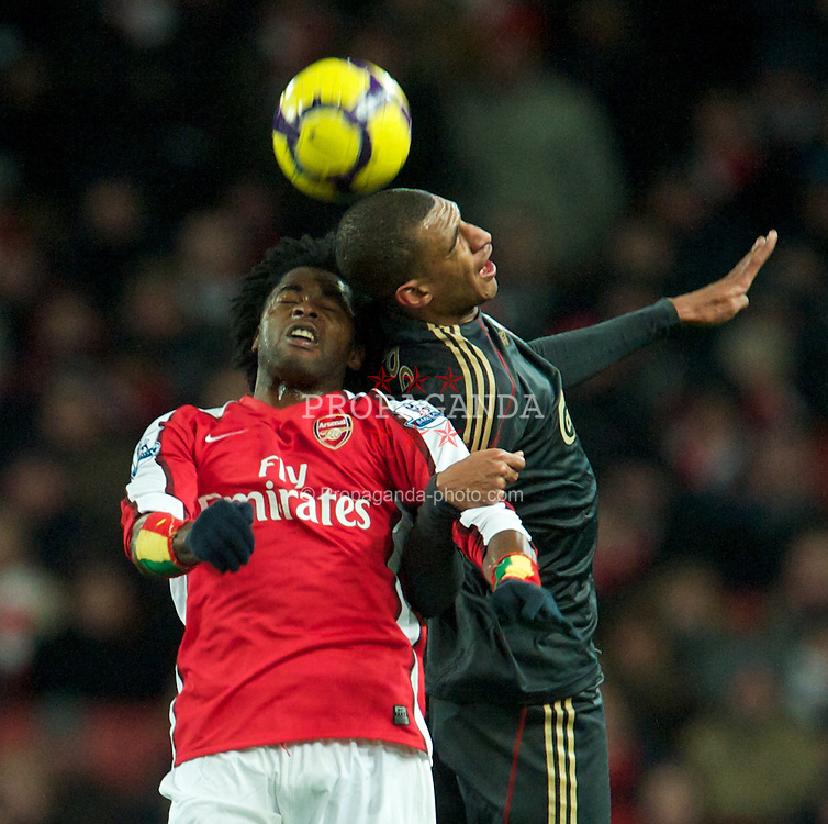 LONDON, ENGLAND - Wednesday, February 10, 2010: Liverpool's David Ngog and Arsenal's Alexandre Song Billong during the Premiership match at the Emirates Stadium. (Photo by David Rawcliffe/Propaganda)