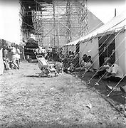 Side view of behind the Pyramid stage.Glastonbury,1989.