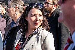 Pictured: Monica Lennon, MSP<br /><br />Richard Leonard, leader of Scottish labour, Patrick Harvie, co-leader of the Scotrtish Greens, joined other MSPs and memberes of the RMT union today to protest against Abellio contract. The rail union were demonstrating outside the Scottish Parliament in a call for the termination of privateer Abellio ScotRail's contract.<br /><br />Ger Harley   EEm 2 October 2019