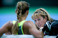 (R) Danijela Jaksic is Jovana's mother and her coach in WTA women's tennis tournament BNP Paribas Katowice Open 2014 at Spodek Hall in Katowice, Poland.<br /> <br /> Poland, Katowice, April 09, 2014<br /> <br /> Picture also available in RAW (NEF) or TIFF format on special request.<br /> <br /> For editorial use only. Any commercial or promotional use requires permission.<br /> <br /> Mandatory credit:<br /> Photo by © Adam Nurkiewicz / Mediasport
