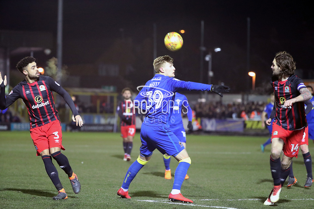AFC Wimbledon striker Joe Pigott (39) heading the ball during the EFL Sky Bet League 1 match between AFC Wimbledon and Blackburn Rovers at the Cherry Red Records Stadium, Kingston, England on 27 February 2018. Picture by Matthew Redman.