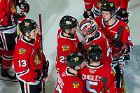 KELOWNA, BC - FEBRUARY 8:Joel Hofer #30 of the Portland Winterhawks is congratulated on the win against the Kelowna Rockets  at Prospera Place on February 8, 2020 in Kelowna, Canada. (Photo by Marissa Baecker/Shoot the Breeze)