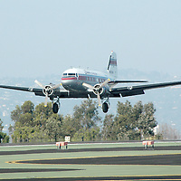 The Flabob Express comes in for a landing while reenacting the first flight of a Douglas DC-3 during the American Aviation History Society and the Museum of Flying's commemorative  75th Anniversary for the historic Douglas DC-3 at the Santa Monica Airport on Saturday, January 29, 2011