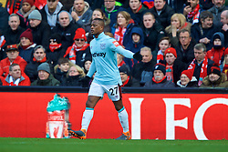 LIVERPOOL, ENGLAND - Saturday, February 24, 2018: West Ham United's Patrice Evra during the FA Premier League match between Liverpool FC and West Ham United FC at Anfield. (Pic by David Rawcliffe/Propaganda)