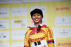 Coryn Rivera (USA) keeps the race lead at Lotto Thuringen Ladies Tour 2018 - Stage 2, an 136 km road race starting and finishing in Meiningen, Germany on May 29, 2018. Photo by Sean Robinson/Velofocus.com