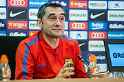 Ernesto Valverde during the press conference before the Spanish championship La Liga football match between FC Barcelona and Real Madrid on May 5, 2018 at Ciutat Joan Gamper in Barcelona, Spain - Photo Xavier Bonilla / Spain ProSportsImages / DPPI / ProSportsImages / DPPI