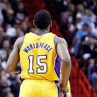 19 January 2012: Los Angeles Lakers small forward Metta World Peace (15) is seen during the Miami Heat 98-87 victory over the Los Angeles Lakers at the AmericanAirlines Arena, Miami, Florida, USA.