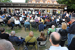 © Licensed to London News Pictures. 04/08/2015 <br /> People had to sit outside the venue because it was full.<br /> Jeremy Corbyn Labour Leader candidate at Ruskin House,South Croydon,Surrey. At a meet Jeremy Corbyn  Q AND A Event TONIGHT (04.08.2015)<br /> (Byline:Grant Falvey/LNP)