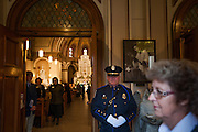 An honor guard stands at the entrance to St. Aloysius Church before the Nov. 1, 2013 memorial for former House Speaker Thomas Foley. (Photo courtesy Gonzaga University.)