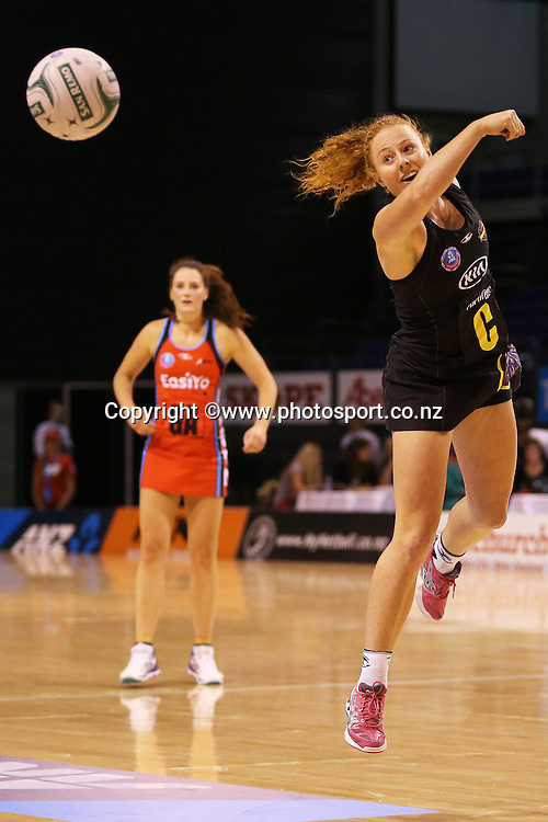 Samantha Sinclair of the Magic tries to gather the ball during ANZ Championship Netball between Mainland Tactix v WBOP Magic, held at CBS Arena, Christchurch. 01 March 2014 Photo: Joseph Johnson/www.photosport.co.nz