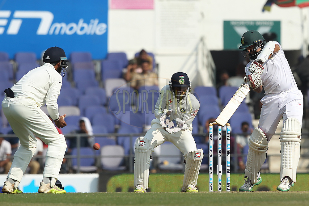 Hashim Amla captain of South Africa  during day three of the 3rd Paytm Freedom Trophy Series Test Match between India and South Africa held at the Vidarbha Cricket Association Stadium, Nagpur, India on the 27th November 2015<br /> <br /> Photo by Ron Gaunt  / BCCI / SPORTZPICS