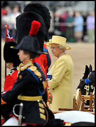 HM The Queen with the Duke of Edinburgh watch the Queen's Trooping of the Colour, The Queen's Birthday Parade,on Horse Guards Parade, Saturday June 16, 2012. Photo by Andrew Parsons/i-Images.
