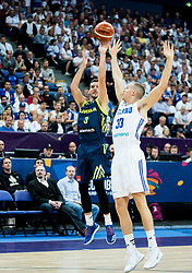 Goran Dragic of Slovenia vs Erik Murphy of Finland during basketball match between National Teams of Finland and Slovenia at Day 3 of the FIBA EuroBasket 2017 at Hartwall Arena in Helsinki, Finland on September 2, 2017. Photo by Vid Ponikvar / Sportida