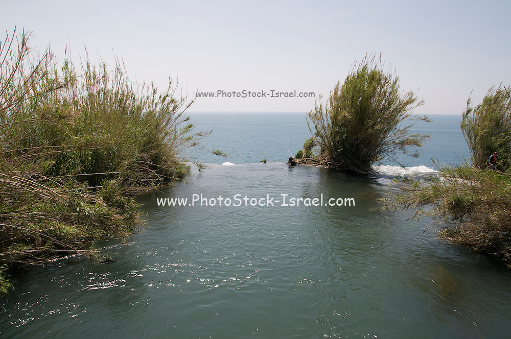 Turkey, Antalya, Lower Duden River before it plunges 40 meters into the mediterranean sea