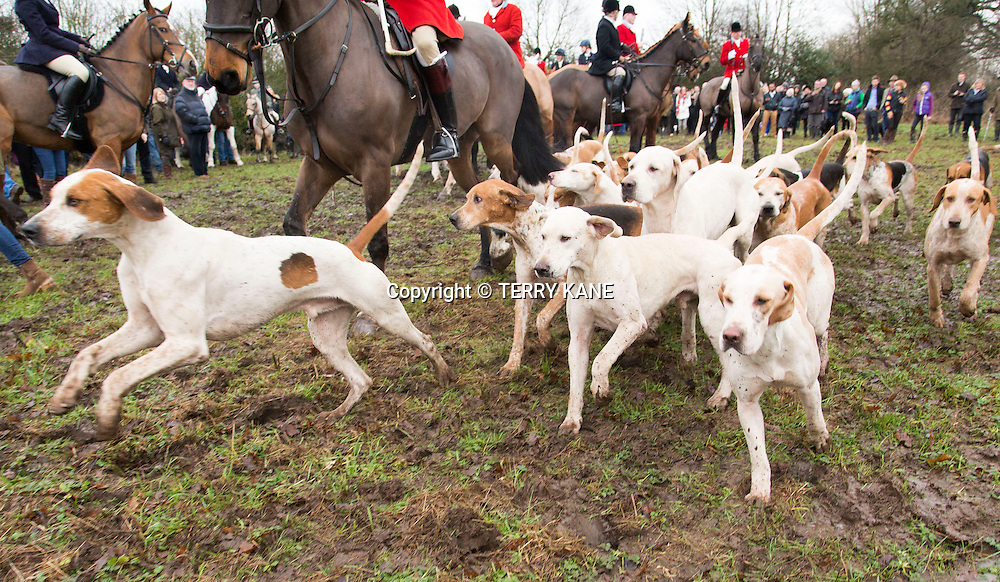 LACH DENNIS, UK:<br /> The Cheshire Forest Hunt gathers for its traditional annual Boxing Day Hunt meet at The Duke of Portland public house at Lach Dennis, near Northwich, Cheshire, on Friday morning, 26th December 2014<br /> PHOTOGRAPH BY TERRY KANE / BARCROFT MEDIA LTD<br /> UK Office, London.<br /> T: +44 845 370 2233<br /> E: pictures@barcroftmedia.com<br /> W: www.barcroftmedia.com<br /> <br /> Australasian &amp; Pacific Rim Office, Melbourne.<br /> E: info@barcroftpacific.com<br /> T: +613 9510 3188 or +613 9510 0688<br /> W: www.barcroftpacific.com<br /> <br /> Indian Office, Delhi.<br /> T: +91 997 1133 889<br /> W: www.barcroftindia.com