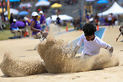 Twinsburg TC Etaijen Easter, who won the boys Long Jump with a jump of 7.55m (24.925) during the New Balance Outdoor Nationals, Sunday, June 16, 2019, in Greensboro, NC. (Brian Villanueva/Image of Sport)