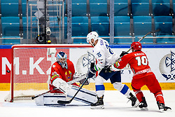 Dmitri Milchakov of Belarus, Robert Sabolic of Slovenia an Nick Bailen of Belarus during ice hockey match between Belarus and Slovenia at IIHF World Championship DIV. I Group A Kazakhstan 2019, on May 2, 2019 in Barys Arena, Nur-Sultan, Kazakhstan. Photo by Matic Klansek Velej / Sportida