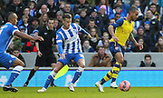 Arsenal's Theo Walcott on the ball during the The FA Cup match between Brighton and Hove Albion and Arsenal at the American Express Community Stadium, Brighton and Hove, England on 25 January 2015. Photo by Phil Duncan.