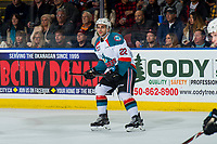 KELOWNA, CANADA - JANUARY 26:  Matt Barberis #22 of the Kelowna Rockets skates against the Vancouver Giants on January 26, 2019 at Prospera Place in Kelowna, British Columbia, Canada.  (Photo by Marissa Baecker/Shoot the Breeze)