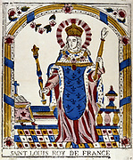 Louis IX (St Louis) 1215-1270, king of France from 1226. 19th century French coloured woodcut.