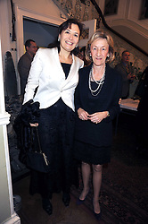 Left to right, SIAN COMMBES and LADY BELHAVEN & STENTON at a Literary Evening to celebrate the publication of Masters & Commanders by Andrew Roberts held at The Polish Institute and Sikorski Museum, 20 Princes Gate, London SW7 on 1st October 2008.