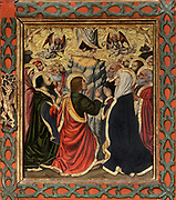 Assumption of the Virgin, with kneeling saints and apostles, from the Life of the Virgin, on the Altarpiece of the Constable or Epiphany Altarpiece, 1464-65, by Jaume Huguet, c. 1412-92, tempera on panel, in Gothic style, commissioned by Don Pedro of Portugal, in the Royal Chapel of Santa Agatha in the Palacio Real Mayor in Barcelona, Spain. The central panel is the most important and depicts the Adoration of the Magi. The side and top panels depict the Life of the Virgin and Jesus Christ, and Saints are portrayed at the bottom. Picture by Manuel Cohen