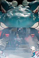 KELOWNA, CANADA - MARCH 5: Kris Schmidli #16 of the Kelowna Rockets enters the ice against the Spokane Chiefs on March 5, 2014 at Prospera Place in Kelowna, British Columbia, Canada.   (Photo by Marissa Baecker/Getty Images)  *** Local Caption *** Kris Schmidli;