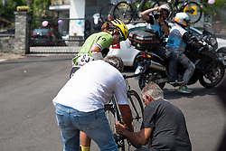 An untimely puncture for Gutierrez on the final climb of the day at the final stage of the Giro Rosa 2016 on 10th July 2016. A 104km road race starting and finishing in Verbania, Italy.