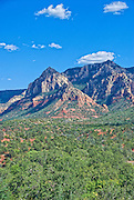 Sedona, USA, Arizona. Moody Red mountain formations. Blue Sky's.