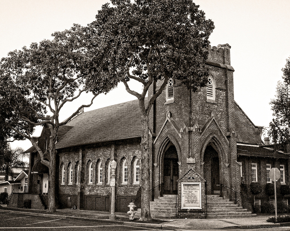 Historic Fullerton church along Pomona and Amerige. Black and White.