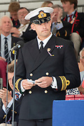 Henley on Thames, England, United Kingdom, 7th July 2019, Henley Royal Regatta, Speeches, left Lt Commander, Pete REED, RN., Prize Giving ceremony,  Henley Reach, [© Peter SPURRIER/Intersport Image]<br /> <br /> 17:22:20 1919 - 2019, Royal Henley Peace Regatta Centenary,