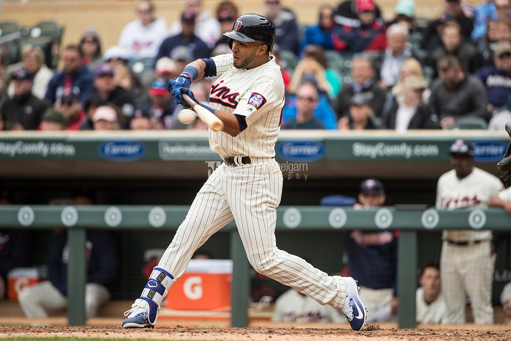 MINNEAPOLIS, MN- APRIL 5: Eddie Rosario #20 of the Minnesota Twins bats against the Kansas City Royals on April 5, 2017 at Target Field in Minneapolis, Minnesota. The Twins defeated the Royals 9-1. (Photo by Brace Hemmelgarn) *** Local Caption *** Eddie Rosario