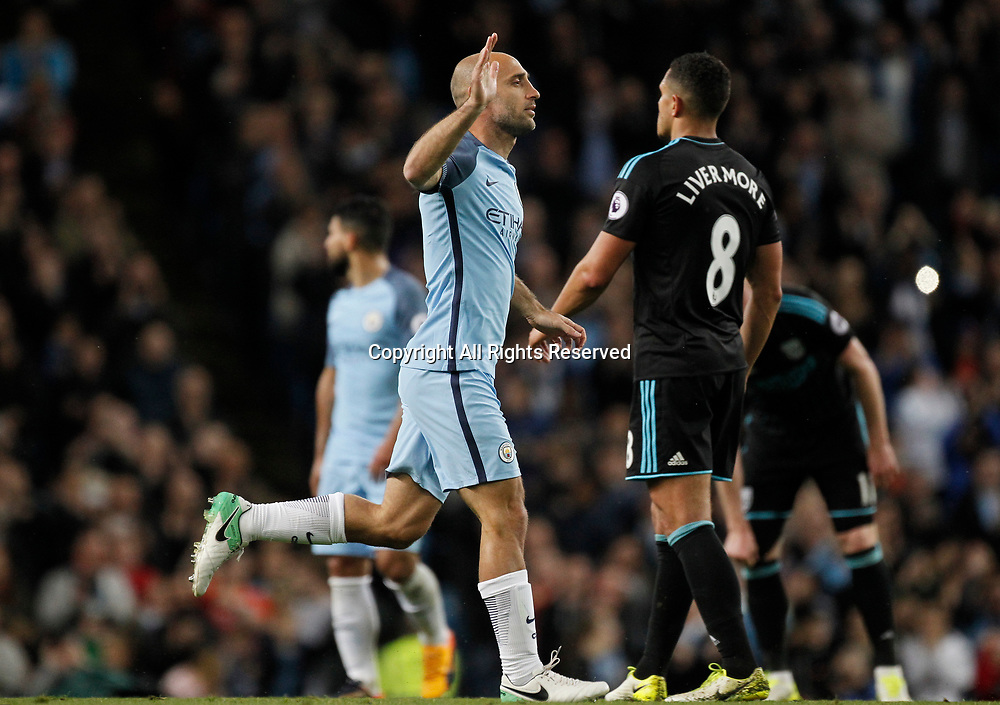 May 16th 2017, Etihad Stadium, Manchester, England; EPL Premier League football, Manchester City versus West Bromwich Albion; Pablo Zabaleta comes on as a second half substitute for his final game for City at the Etihad, having announced that he will leave the club at the end of the season
